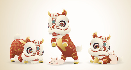 Chinese new year symbol with lion dance and pig playing together Ilustração