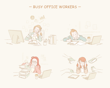 Busy office workers set in hand drawn line style