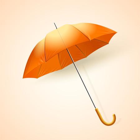 Blank orange umbrella mockup in 3d illustration