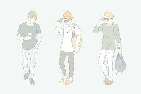 Man in casual style, young men's fashion in hand drawn line and grey green tone