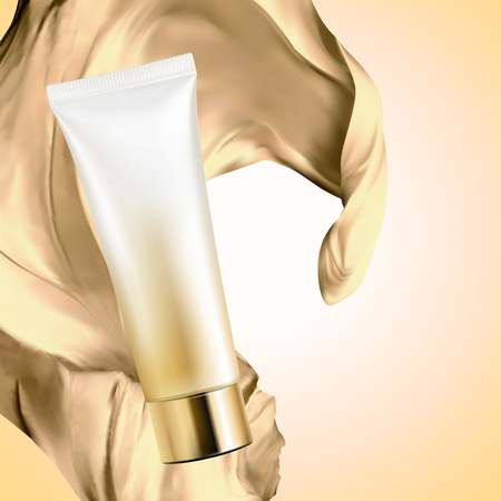Blank cosmetic plastic tube with satin fabric on golden color background, 3d illustration Vetores