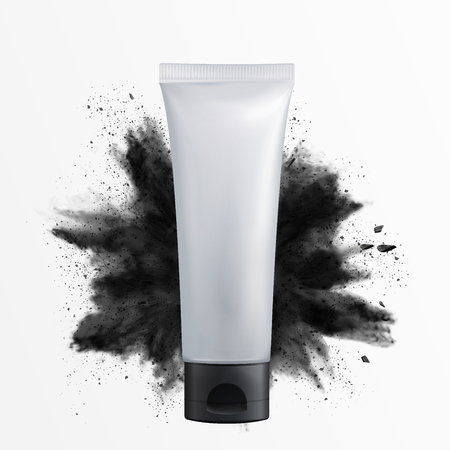 Blank cosmetic plastic tube with charcoal powder explosion in the air, 3d illustration white background Vettoriali