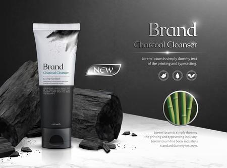 Reklamy komercyjne środka czyszczącego z węglem drzewnym z węglem na marmurowym stole z kamienia na ilustracji 3d
