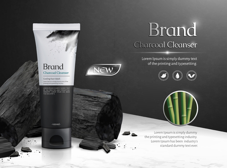 Charcoal cleanser commercial ads with carbon on marble stone table in 3d illustration