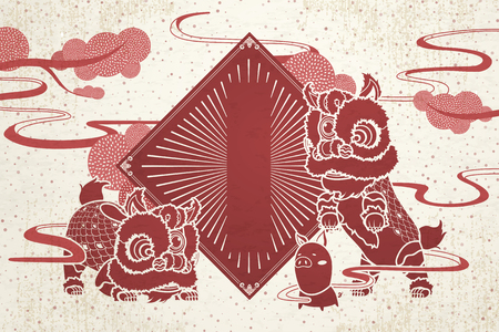 Lion dance and pig with blank spring couplets for Chinese new year greeting, red and beige color tone