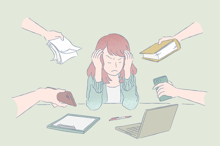 Anxious office lady receive more tasks at the same time in hand drawn outline style, pastel color