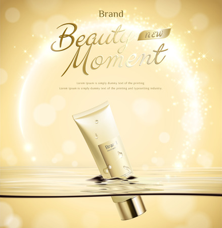 Beauty moment tube float in water on golden glittering background in 3d illustration Illustration
