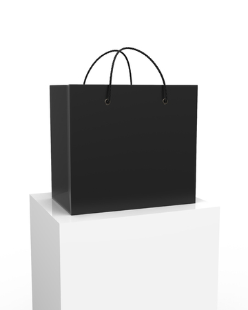 Blank black shopping bag with nylon rope handle on square column in 3d rendering
