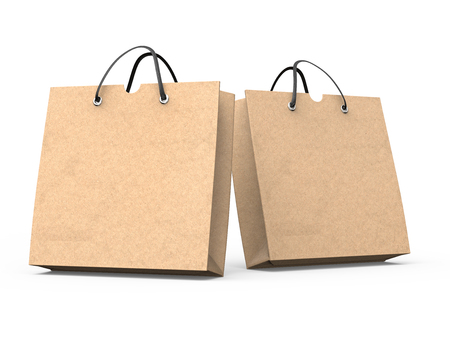 Two blank kraft paper bags mockup in 3d illustration on white background Imagens - 111217944