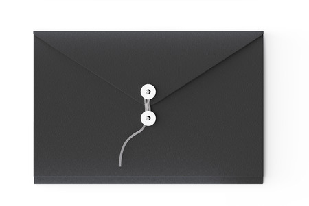 Black document envelope in 3d illustration laying on white background, top view Stock Photo