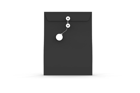 Black envelope with string on white background in 3d rendering