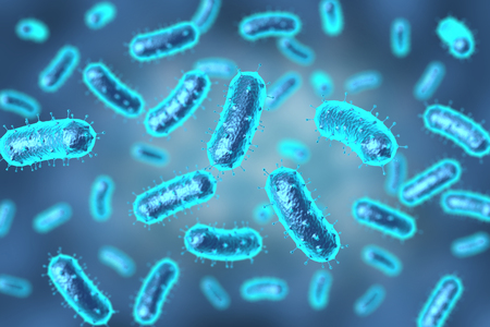 3D rendering bacteria or virus in blue on bokeh background for medical uses Stockfoto