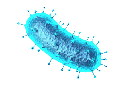3d rendering bacteria or virus in blue on white background for medical uses, isolated one Banco de Imagens