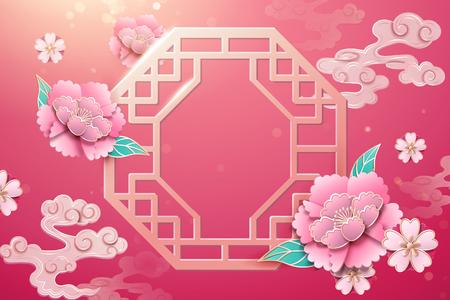 Chinesische Fenster- und Pfingstrosenblumendekoration auf fuchsiafarbenem Hintergrund Vektorgrafik