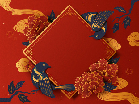 Lunar year traditional spring couplet background with swallow and peony in paper art style