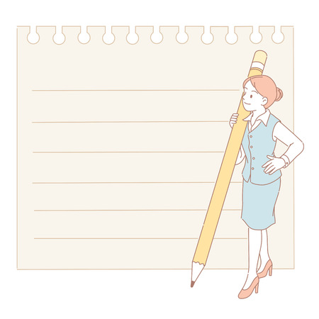 Woman holding a pencil and look at the notepaper in line style
