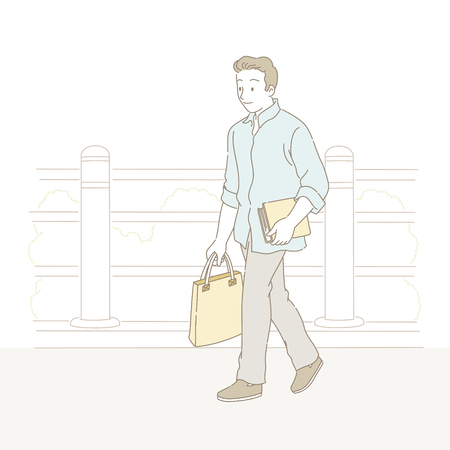 Man walking on the street and carrying a book in line style