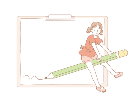 Girl riding on a pencil broom and left some strokes on clipboard in line style