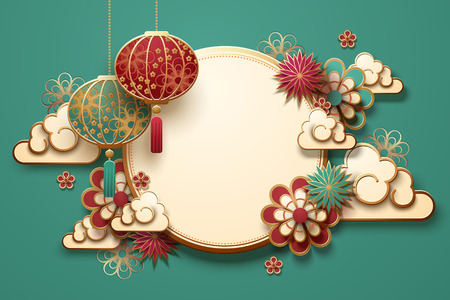 Traditional lunar year background with hanging lanterns and flowers, turquoise background