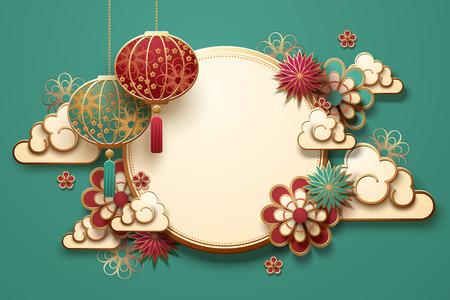 Traditioneller Mondjahrhintergrund mit hängenden Laternen und Blumen, türkisfarbener Hintergrund