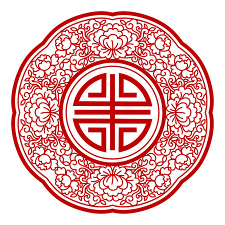 Chinese retro pattern in red color and round shape Illustration