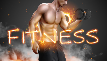 Hunky man doing weight lifting exercises with fitness word sparkler on foggy background in 3d illustration