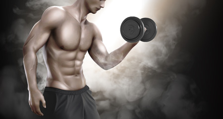 Homme fort faisant des exercices de musculation et exhibant son corps, illustration 3d