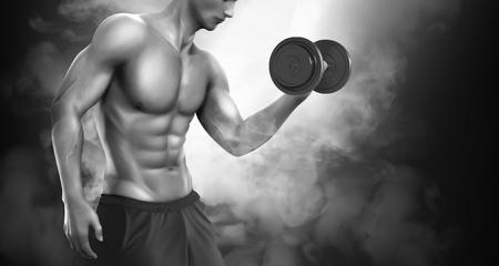 Homme fort faisant des exercices de musculation en niveaux de gris et effet de brouillard, illustration 3d Vecteurs