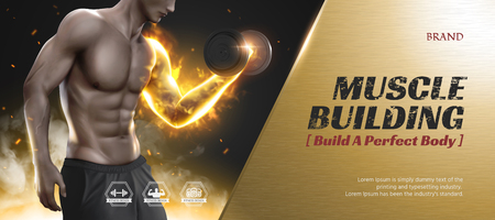 Body training course banner ads with hunky man doing weight lifting, golden metal texture frame Ilustração