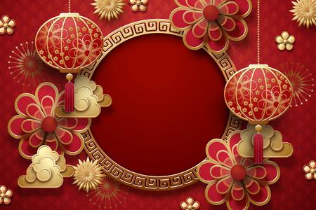 Arrière-plan traditionnel de l'année lunaire avec lanternes suspendues et fleurs dans les tons rouges, espace de copie pour les mots d'accueil Vecteurs