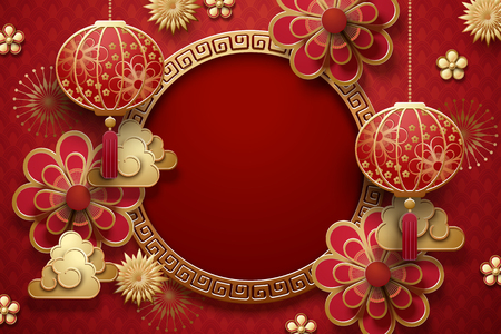 Traditional lunar year background with hanging lanterns and flowers in red tone, copy space for greeting words