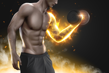 Hunky man doing weight lifting exercises with his arm glowing, 3d illustration