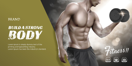 Body training course banner ads with hunky man doing weight lifting  イラスト・ベクター素材