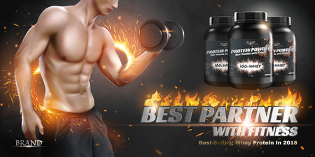 Protein powder banner ads with hunky man lifting dumbbell in 3d illustration, special glowing effect Ilustração