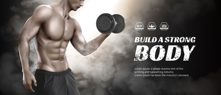 Body training course banner ads with hunky man doing weight lifting Illustration