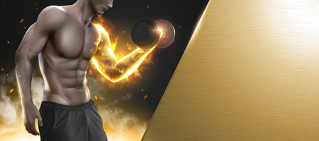 Hunky man doing weight lifting exercises with his arm glowing, banner with copy space for design in illustration