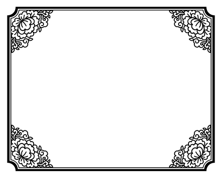 Retro black floral frame in Chinese style