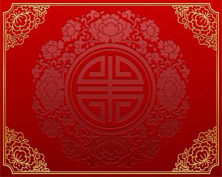 Sfondo rosso in stile cinese retrò con cornice color oro golden