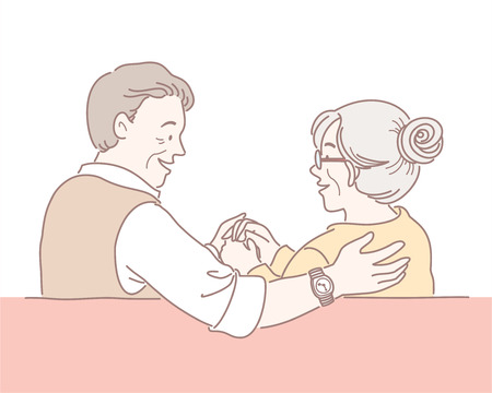 Middle-aged couple sitting on the sofa and looking at each other illustration 矢量图像