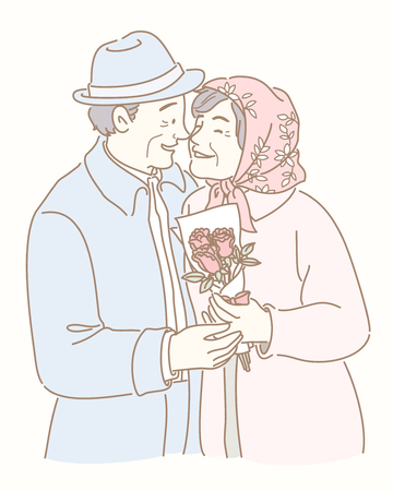 Middle-aged couple have a date and holding rose bouquet illustration