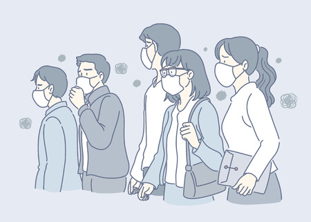 People wearing masks against air pollution in blue tone Illustration