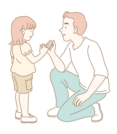 Man makes a pinky promise to a little girl illustration Stock Illustratie