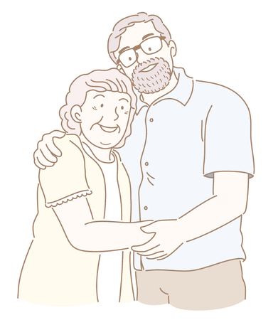 Happy elderly couple holding each others hand illustration