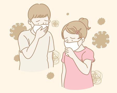 Kinder mit Masken gegen Luftverschmutzung im Erdton