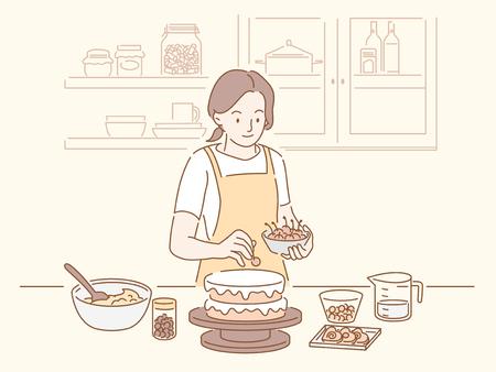 Kobieta robi tort urodzinowy w kuchni, ręcznie rysowane styl linii