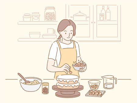 Woman making a birthday cake in the kitchen, hand drawn line style