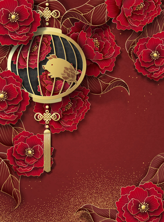 Lunar year poster design with hanging lantern and peony paper art flower background