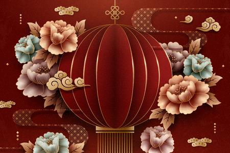 Lanterna rossa di arte della carta in stile cinese e sfondo di peonia