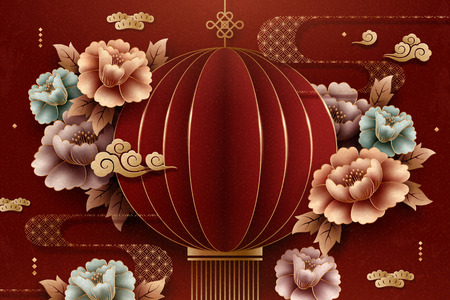 Chinese style paper art red lantern and peony background