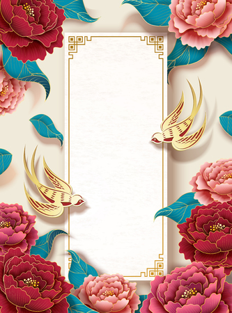 New year background template with colorful peony garden and golden swallow Stock Illustratie
